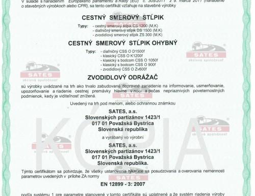 Cestný smerový stĺpik CE certifikát