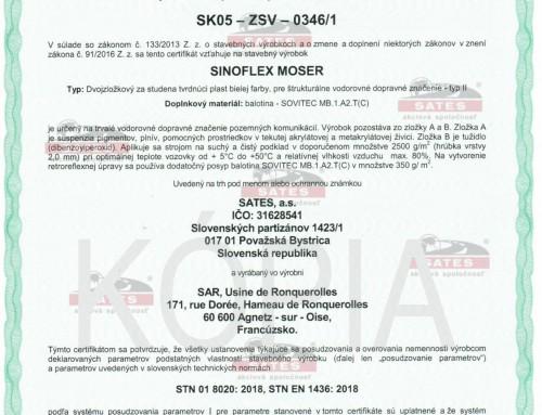 Sinoflex Moser SK certifikát