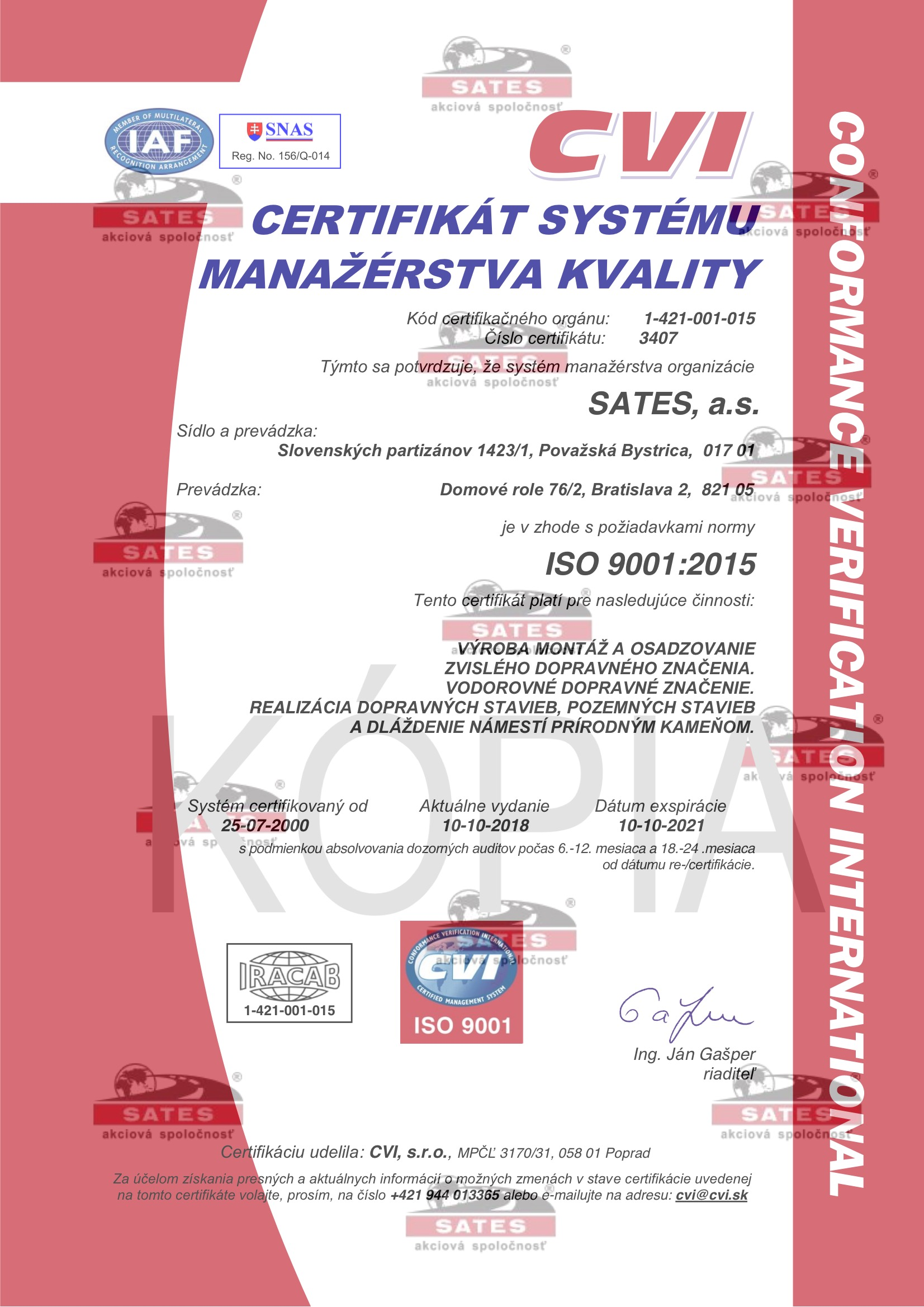ISO 9001:2015 – ISO 14001:2015 – OHSAS 18001:2007