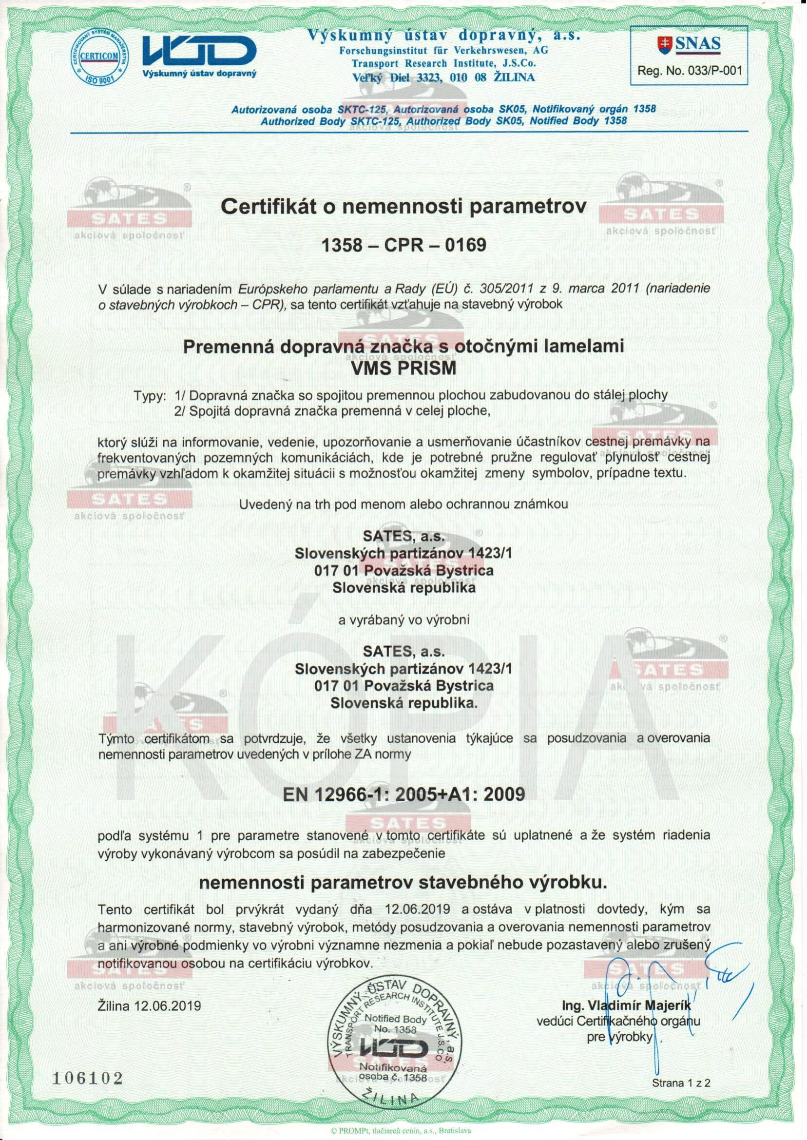 Premenná dopravná značka VMS PRISM – CE certifikát